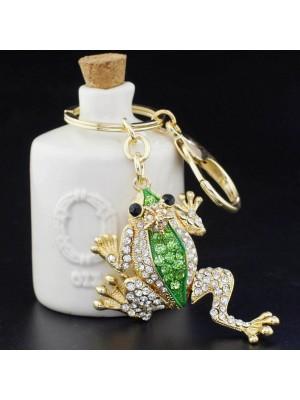 Златна жаба-кристален ключодържател